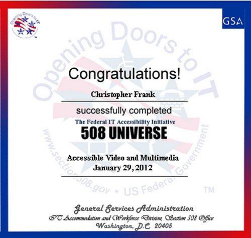 508 Universe Certificate