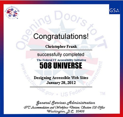 508 Universe Training Certificate- Designing Accessible WebSites